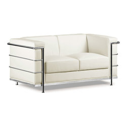 ZUO MODERN - Fortress Loveseat White - A Mid-Century classic series, the Fortress comes with leather seating, leatherette back and side with a chrome steel tube frame. It comes in black, white or espresso.