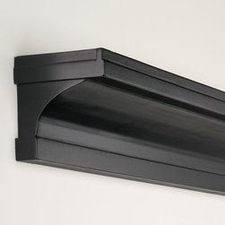 "Exposures - Concave Ledge 3 Foot - Overview With a sleek design that blends seamlessly with traditional or contemporary dcor, this ledge is the perfect unique accent for your wall. Also available in 2-ft and 4-ft lengths to fit your space perfectly. Features Available in black, cherry and white Also available in 2-ft and 4-ft lengths Solid wood   Specifications  3-ft ledge measures 36"" long x 4"" deep"