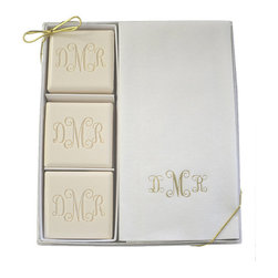 "Frontgate - Monogrammed Triple Milled 3-Bar Soap and Guest Towel Set - Frontgate - 100% vegetable based. Square soap bars are 4 oz.. Disposable towel measures 12"" x 20"". The 3-bar Soap and Guest Towel Gift Set includes soap that has been elegantly crafted from a pure vegetable base, then triple-milled for a luxurious lather, and a soft, personalized hand towel. The lavish Spa Collection gift set is a perfect way to feel refreshed, rejuvenated, and spoiled. .  . ."
