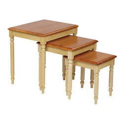 Office Star - Office Star Country Cottage 3-Piece Nesting Tables in Antique Yellow - Office Star - Nesting Tables - CC19