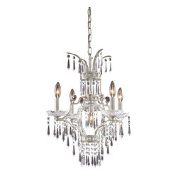 ELK Lighting - ELK Lighting 4055/4+1 La Fontaine 5 Light Chandeliers in Sunset Silver - This 5 light Chandelier from the La Fontaine collection by ELK will enhance your home with a perfect mix of form and function. The features include a Sunset Silver finish applied by experts. This item qualifies for free shipping!