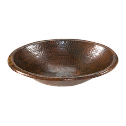 Premier Copper Products - Premier Copper Products LO17RDB Small Oval Self Rimming Hammered Copper Sink - Uncompromising quality, beauty, and functionality make up this Premier Small Oval Self Rimming Hammered Copper Bathroom Sink. Perfect for a Powder Room or Small Vanity.