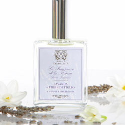 Lavender & Lime Blossom Room Spray 100 ml. - French Empire inspirations mingle with the familiarity and associative luxury of true Provence lavender in this luxury scented air and linen spray, Lavender and Lime Blossom.  Presented in a handsome glass bottle with an embossed apothecary-style label, the lavender room spray is accented with quirky, appealing lime blossom and added herbal impressions of Le Puy-en-Velay verveine.