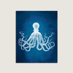 Octopus - The classic vintage octopus illustration takes a twist in a rich blue background.