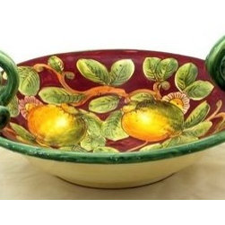 Artistica - Hand Made in Italy - Limoni Fondo Bordeaux: Round Bowl with Serpentine Handles - Limoni Bordeaux Collection:
