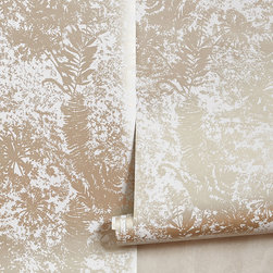 Shimmered Archive Wallpaper - Designed with a sun print in mind, this enchanting wallpaper subtly glistens in brushed metallic hues. It's a shining example of how a little gilded glamour can highlight an entire room.
