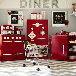 Red Retro Kitchen Collection | Pottery Barn Kids - Our retro kitchen offers everything budding chefs need. Complete with a sink, icebox and oven, it has a fun retro design with lots of interactive features like adjustable shelves, timers that tick and knobs that turn. Icebox has 2 doors, 1 adjustable shelf and a faux thermometer. Oven has removable salt and pepper shakers, a ticking timer and a sliding cooking gauge. Stainless-steel sink can hold water so kids can scrub their pots and pans, and removes easily for cleaning. Detailed with easy-to-grip handles and knobs. A bright finish on all sides resists chipping or fading.