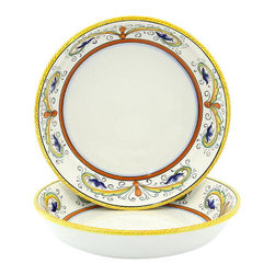 Artistica - Hand Made in Italy - Perugino: Round Flat Pasta/Soup Bowl - Perugino Collection: The Perugino pattern is an Artistica's exclusive. It was inspired by the Deruta's classic Raffaellesco a design that traces his origins from the XVI Century graceful arabesques of painter Raphael famous frescoes.