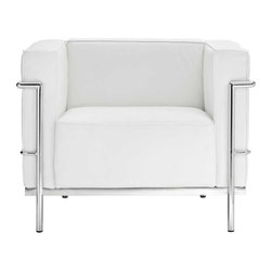 Modway - LC3 Armchair in White - Urban life has always a quandary for designers. While the torrent of external stimuli surrounds, the designer is vested with the task of introducing calm to the scene. From out of the surging wave of progress, the most talented can fashion a forcefield of tranquility. Perhaps the most telling aspect of the Charles series is how it painted the future world of progress. The coming technological era, like the externalized tubular steel frame, was intended to support and assist human endeavor. While the aesthetic rationalism of the padded leather seats foretold a period that would try to make sense of this growth. The result is an iconic sofa series that became the first to develop a new plan for modern living. If previous generations were interested in leaving the countryside for the cities, today it is very much the opposite. If given the choice, the younger generations would rather live freely while firmly seated in the clamorous heart of urbanism. The Charles series is the preferred choice for reception areas, living rooms, hotels, resorts, restaurants and other lounge spaces.