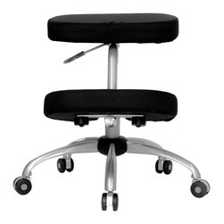 Flash Furniture - Flash Furniture Mobile Ergonomic Kneeling Chair in Black and Silver - Flash Furniture - Office Chairs - WL1425GG - Reduce lower back strain and regain your body's natural posture with this ergonomic kneeling chair. Kneeling chairs sit you in a position to allow your diaphragm to move efficiently and promote better breathing and blood circulation. This chair can be used as a permanent office chair or used in conjunction with a conventional task or executive office chair. [WL-1425-GG]