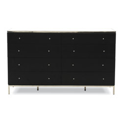 Mitchell Gold + Bob Williams - Manning 8 Drawer Chest - On the wide side. This dresser will give your room a modern edge. It features a mix of materials to keep things interesting, like clear and white glass and polished stainless steel. Use it to keep all your essentials neatly organized and out of sight.