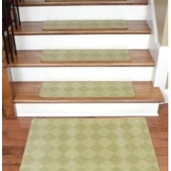 """Dean Flooring Company - Dean Premium Carpet Stair Treads - Baron Ivory/Gold 30"""" x 9"""" (13) Plus Mat - Dean Premium Carpet Stair Treads - Baron Ivory/Gold 30"""" x 9"""" (Set of 13) Plus a 2' x 3' Landing Mat : Beautiful Plush Premium Carpet Stair Treads by Dean Flooring Company. Luxurious and Resilient Texture. High Fashion Design with Beautiful Diamond Pattern. Densely Woven Construction 100% Opulon (Polypropylene and Acrylic). Uncommon Softness and Durability. Premium Quality Broadloom is Woven Face-to-Face on State-of-the-Art Wilton Looms. Stylish Enough to Compliment the Finest Decors. Each tread measures approximately 30 inches by 9 inches. Set Includes 13 stair treads plus a matching 2' x 3' landing mat. Each tread is finished with color matching yarn. Prevents slips on your hardwood stairs. Provides warmth and comfort. Extends the life of your hardwood stairs. Easy do-it-yourself installation with Double Sided Carpet Tape (Not Included-sold separately). Add a touch of warmth and style to your stairs today with new carpet stair treads from Dean Flooring Company!"""