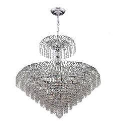 "Worldwide Lighting - Empire 14 Light Chrome Finish and Clear Crystal Chandelier 30"" D x 32"" H Large - This stunning 14-light crystal chandelier only uses the best quality material and workmanship ensuring a beautiful heirloom quality piece. Featuring a radiant chrome finish and finely cut premium grade crystals with a lead content of 30%, this elegant chandelier will give any room sparkle and glamour. Worldwide Lighting Corporation is a privately owned manufacturer of high quality crystal chandeliers, pendants, surface mounts, sconces and custom decorative lighting products for the residential, hospitality and commercial building markets. Our high quality crystals meet all standards of perfection, possessing lead oxide of 30% that is above industry standards and can be seen in prestigious homes, hotels, restaurants, casinos, and churches across the country. Our mission is to enhance your lighting needs with exceptional quality fixtures at a reasonable price."