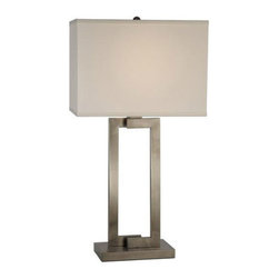 Trend Lighting - Riley BT7470 - Table Lamp | Trend - Trend Lighting Riley BT7470 Table Lamp from the Basics Collection features off-white shantung shade and brushed nickel hardware finish.�_ Manufacturer: Trend LightingSize: 29 in. height x 15.5 in. width shadeLight Source: 1 x 100W Incandescent or CFL/LED Equivalent - not includedSwitch:�_On/OffLocation:�_Dry