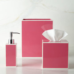 "Kassatex - Kassatex Soho Wastebasket - These sleek lacquer accessories come in your choice of Pink, Green, Blue, or Gray. Select color when ordering. Dimensions are approximate. Pump dispenser, 2.5""Sq. x 7.5""T. Wastebasket, 8""Sq. x 8""T. Tissue box cover, 5.5""Sq. Tray, 5.5""Sq. x 1""T. Lid..."