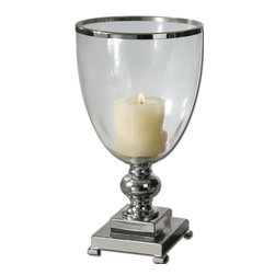 Uttermost - Lino Clear Glass Candleholder - Float a candle in this elegant, nickel-plated candleholder. Take it outside where the clear glass globe will protect the candle from unwanted breezes. Take it inside for an instant accent on your end table or sideboard. Buy two and you'll have a centerpiece for your dining table.
