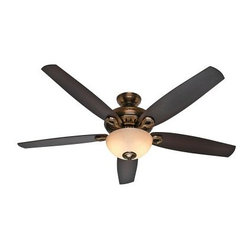 Hunter Valerian 60 in. Indoor Ceiling Fan with Light - Simple, contemporary lines and high energy efficiency make the Hunter 54070 Bingham 52 in. Indoor Ceiling Fan with Light a natural choice for cooling any room in style. This is a ceiling fan and light kit combination that includes five reversible blades and comes in your choice of select finish options. Three white marble glass shades diffuse light beautifully. The pull chain makes it a breeze to adjust the fan speed and turn the light on or off. About Hunter FanHunter Fan traces its origins back to 1886 when John Hunter and his son, James Hunter, maked the first water-driven celling fan in upstate New York. Today the company blends 19th century craftsmanship with innovative designs and technology to make fans of unmatched quality, style, and performance. Hunter Fans now has offices in three countries and retail outlets around the world. Hunter Fans offers style, comfort, and health for you and your family. Their fans are handcrafted from the finest materials to last a lifetime. Hunter ceiling fans function perfectly and always deliver proven performance. They also offers air purifiers and humidifiers to make a truly healthy environment for your family. Hunter fans are as beautiful as they are whisper-quiet and efficient.