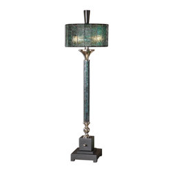 Uttermost - Vedano Water Glass Buffet Lamp - Dark blue green Water glass column with polished chrome details and a matte black foot. The round drum shade is blue green tiffany style Water glass.