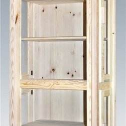 Montana Woodworks - 30 in. Curio Cabinet - Hand crafted. Sawn square timbers and trim pieces for rustic timber frame design. Heirloom quality. Edge glued panels. Four side opening doors for ease of access. Made from U.S. solid grown wood. Lacquered finish. Made in U.S.A.. No assembly required. 30 in. W x 14 in. D x 76 in. H (100 lbs.). Warranty. Use and Care InstructionsFrom Montana Woodworks, the largest manufacturer of handcrafted quality log furnishings in America comes the all new Homestead Collection line of furniture products. This exquisitely designed curio cabinet allows you to display your most precious items without the frustration of dust and damage. Each piece signed by the artisan who makes it.