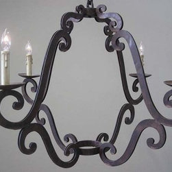 Wine Room Chandelier - This chandelier has the double scrolls hiding the electric wires. Customizable.