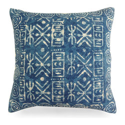 """Dabu Spill Indigo Pillow - 20"""" - Stripes of appealing designs, bordered by a square of expressive spirals, provide the eye-catching design for the Dabu Spill Indigo Pillow, a cotton-covered decorative accent cushion made in India with an unmistakable resist-dyeing technique to give its blue fabric an exciting yet composed look. Create a reserved medley of blues or a sampler of graphic patterns on a sofa with this pillow."""