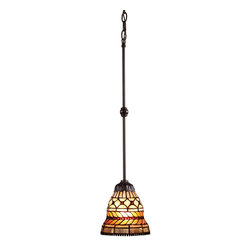 """Elk Lighting - Elk Lighting Glass Leaf Modern / Contemporary Tiffany Mini Pendant Light X-1-780 - With intricate and interesting elements, this Modern/Contemporary Tiffany Mini Pendant Light is sure to make a statement in any home. This lighting fixture, which is provided with an 18"""" stem, contains a banding of cast glass leaves with a beaded center stem that separates the two rows of leaves.The layers of stunning patterns, Tiffany Bronze Finish, and warm neutral tones create a warm and rich setting."""