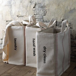 French Laundry Home - French Laundry Home 'Laundry' Totes, Red Stripe - Organize and sort with a French flair. These charming bags are made using a linen-cotton blend.