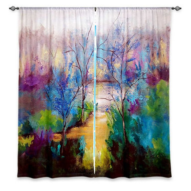 """DiaNoche Designs - Window Curtains Lined by Ruth Palmer And God Saw That It Was Good - DiaNoche Designs works with artists from around the world to print their stunning works to many unique home decor items.  Purchasing window curtains just got easier and better! Create a designer look to any of your living spaces with our decorative and unique """"Lined Window Curtains."""" Perfect for the living room, dining room or bedroom, these artistic curtains are an easy and inexpensive way to add color and style when decorating your home.  This is a woven poly material that filters outside light and creates a privacy barrier.  Each package includes two easy-to-hang, 3 inch diameter pole-pocket curtain panels.  The width listed is the total measurement of the two panels.  Curtain rod sold separately. Easy care, machine wash cold, tumble dry low, iron low if needed.  Printed in the USA."""