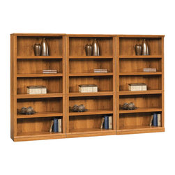Sauder - Sauder Storage Five Shelf Wall Bookcase in Abbey Oak Finish - Sauder - Bookcases - 410175PKG - Sauder Storage Five Shelf Bookcase in Abbey Oak Finish (included quantity: 3)
