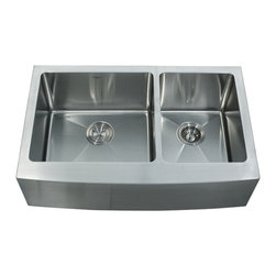 "Kraus - Kraus 33"" Farmhouse Apron 60/40 Double Bowl 16 Gauge Sink Combo Set - Add an elegant touch to your kitchen with a unique and versatile farmhouse apron sink from Kraus"