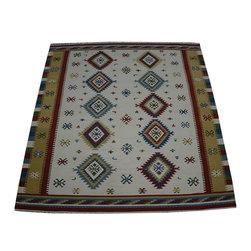 1800GetARug.com - Anatolian Kilim Area Rug, Hand Woven 9'X12' 100% Wool Reversible Rug Sh10462 - Anatolian Kilim Area Rug, Hand Woven 9'X12' 100% Wool Reversible Rug Sh10462