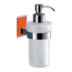 Gedy - Frosted Glass Soap Dispenser With Orange Mounting - Modern, contemporary style wall mounted hand soap dispenser.