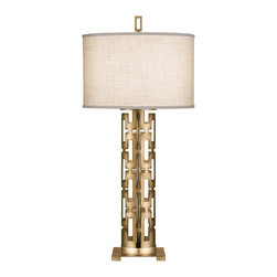 Fine Art Lamps - Allegretto Gold Table Lamp, 787310-2ST - Bring bold style and warm light to your favorite setting with this table lamp. A smartly styled cutout base lofts a white textured linen shade — the perfect look for your traditional or contemporary space.