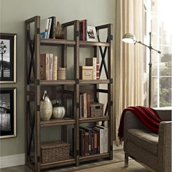 None - Wildwood Rustic Metal Frame Bookcase/ Room Divider - Redefine your living space with this handsome bookcase,which can be placed up against a wall or used as a room divider. Eight open shelves offer space for books,picture frames or other decorations. This bookcase is finished in rustic grey.