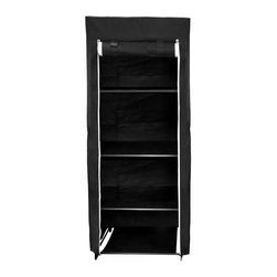 "Florida Brands - 24"" Compact Portable Closet with 4 Fabric Shelves - 24 Inch compact Portable closet , 4 fabric shelves, Durable frame, Improved cover strength, Breathable fabric cover to keeps clothes fresh, Zippered front door, Easy No tools assembly, measurers 62"" H x 24"" W x 20"""