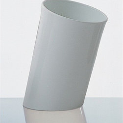 """Danese Milano - In Attesa Wastebasket - A cylinder in injection-moulded to be used as wastepaper basket which stands out from a contemporary production of such objects because of a diagonal cross-cut at the base, making it slightly inclined and thus better positioned to receive waste. It suits public spaces, the office as well as domestic environments. Features: -Material: Polypropylene. -Style: Contemporary. -Overall dimensions: 16"""" H x 10.2"""" W x 10.2"""" D."""