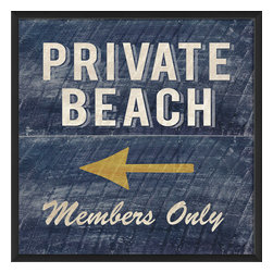 "The Artwork Factory - ""Private Beach Members Only"" Print - 100% Made in the USA, Ready-to-Hang, museum quality framed artwork"