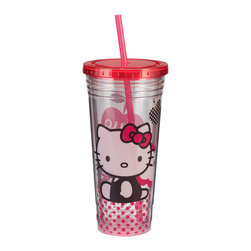 Hello Kitty - Hello Kitty Sitting 24-Oz. Tumbler - Take lemonade and ice water on the go with this sweet tumbler. Featuring a Hello Kitty theme, it boasts durable acrylic construction plus a straw and lid for spill-free sipping.   6.25'' H x 4'' diameter Holds 24 oz. Acrylic Hand wash Imported
