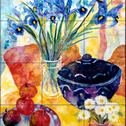 The Tile Mural Store (USA) - Tile Mural - Irises & Dish Of Apples - Kitchen Backsplash Ideas - This beautiful artwork by Lorraine Platt has been digitally reproduced for tiles and depicts a colorful flower scene.  With our enormous selection of tile murals of plants and flowers you can bring your kitchen backsplash tile project to life. A decorative tile mural with plants and flowers is an impressive kitchen backsplash idea and decorative flower tiles also work great in the bathroom. Add splashes of color and life to your tile project with images of flowers on tiles and tiles with pictures of plants.