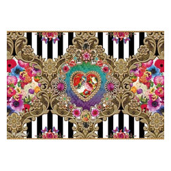 Mellimello Verona Wall Mural - This dazzling wall mural adds a dynamic drama to any space inspired by glamorous European fashion designer MelliMello. The design is centered around a glitzy heart with jewel encrusted gold frames posh flowers and crisp black and white stripes.
