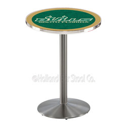 Holland Bar Stool - Holland Bar Stool L214 - Stainless Steel South Florida Pub Table - L214 - Stainless Steel South Florida Pub Table belongs to College Collection by Holland Bar Stool Made for the ultimate sports fan, impress your buddies with this knockout from Holland Bar Stool. This L214 South Florida table with round base provides a commercial quality piece to for your Man Cave. You can't find a higher quality logo table on the market. The plating grade steel used to build the frame ensures it will withstand the abuse of the rowdiest of friends for years to come. The structure is 304 Stainless to ensure a rich, sleek, long lasting finish. If you're finishing your bar or game room, do it right with a table from Holland Bar Stool. Pub Table (1)