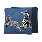 """Chloe and Olive - Scalamandre Blue Zebra Print Throw Pillow, 20x20"""", 20x20"""" Left Facing - This iconic, prancing print by Scalamandre will bring vivacity and glamour to a couch, bed or chair. With a stunning pair of zebras on each throw pillow, the exquisite combination of denim blue, black and white will be a favorite for many seasons to enjoy. Scalamandre is a well known manufacturer of the finest quality fabrics for over 80 years."""