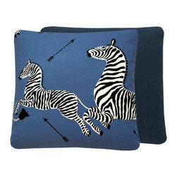 "Chloe and Olive - Scalamandre Blue Zebra Print Throw Pillow, 20x20"", 20x20"" Left Facing - This iconic, prancing print by Scalamandre will bring vivacity and glamour to a couch, bed or chair. With a stunning pair of zebras on each throw pillow, the exquisite combination of denim blue, black and white will be a favorite for many seasons to enjoy. Scalamandre is a well known manufacturer of the finest quality fabrics for over 80 years."
