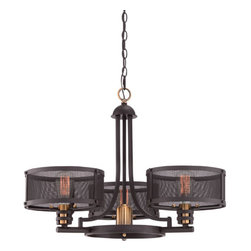 Quoizel - Union Station Western Bronze Three-Light Chandelier - - Vintage meets Industrial. Union Station is a design with steampunk-inspired roots. The metal mesh shades are transparent and allow the beauty of the vintage bulbs (supplied) to shine. The base is created in a Western Bronze finish and features brass accents for a distinctive pop of color.  - Cord Length: 8 Feet  - Chain Length: 48-Inch  - Bulb Not Included Quoizel - UST5003WT