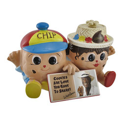 Zeckos - Famous Amos Chip and Cookie Collectible Double Cookie Jar - Wally Amos has a passion for chocolate chip cookies, and is also an advocate for reading that believes that the recipe for ending illiteracy is to read to your child daily. This ceramic double cookie jar features Chip and Cookie with an open book between them. It measures 7 inches tall, 12 1/4 inches long, 6 inches wide, and each lid contains a rubber seal to keep its contents fresh. This cookie jar is the first in a series of collector cookie jars, and it adds an adorable accent to your kitchen countertop.