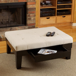 Tucson Fabric Storage Ottoman Coffee Table - Tucson Fabric Storage Ottoman Coffee Table is a great way to help you organize your living room in a classic, tasteful fashion. At first glance, this appears to be similar to many other ottomans...however, the ottoman hides a unique secret. It offers internal storage space, like many ottomans, with the exception that it features a drawer instead of a lifting lid.