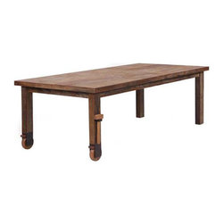 Wheel Dining Table - Rustic with some movement, this is the dining table that could really be the center of a domestic life. It's rugged enough to withstand childhood art projects, yet swanky enough to host a Friday night dinner party.