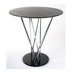 Euro Style - Stacy Round Bar Table w Wood Top & Marble & C - A variety of materials come together through the design of this contemporary bar table, giving it a modern, urban edge that will easily enhance your home's decor. It has a wood top in ebony finish and a tubular steel frame with a marble base in sleek black that brings a sophisticated edge. Ebony Ashwood top, Chrome column, Black Marble base. Made of Ashwood/Chrome/Marble. Warranty: 1 year. Tools for Assembly Included. Some Assembly Required. Assembly Instructions. 41 in. W x 41 in. D x 45 in. H (104 lbs.)