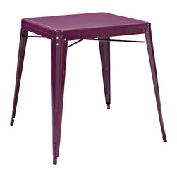 Crosley Furniture - Crosley Furniture Amelia Square Metal 26x26 Cafe Table in Purple - Originally made famous in the quaint bistros of France, these midcentury replicas of original Cafe tables will offer a dose of nostalgia combined with careful consideration for your wallet.  This inspired revival evokes a sense of a true vintage find.