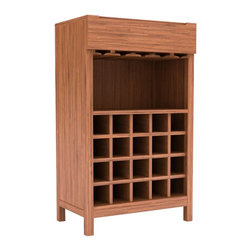 Greenington LLC - Orchid Bamboo Wine Cabinet - G0017-C - Shop for Cabinets from Hayneedle.com! The Orchid Wine Cabinet provides a functional piece with a clean design. This wine cabinet is made from natural bamboo in your choice of warm caramelized or rich espresso finish to match any home's decor. At the top of the cabinet a glass rack holds your finest crystal stems. A large cubby area is perfect for serving wine and cocktails. The lower part of the cabinet holds 20 of your favorite bottles of wine. As a naturally sustainable resource bamboo is an earth-friendly choice for furniture. It is hard durable and stable for years of use. Dimensions: 25.5L x 16W x 43H inches.About Greenington LLC.Greenington LLC manufactures the finest natural bamboo furniture available on the market. Bamboo is strong and grows rapidly making it an ideal material for furniture as well as an earth-friendly environmentally sustainable resource. Greenington offers a full line of unique high-quality bamboo furniture for the bedroom living room dining room and office and its products include tables chairs benches and complete bedroom sets (bed nightstands and dressers). Greenington LLC also provides bamboo wine cabinets bamboo stools and much more.